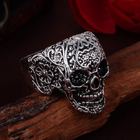 2017 Anel Masculino Punk Vintage Trend Men's Ring Gothic Men's Skull Flower Biker Zinc alloy Ring Man fashion Free shipping