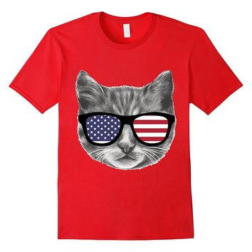 Funny Patriotic Cat Kitten With American Flag Glasses Shirt