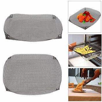 Hot Sale Reusable Non-stick Chip Mesh Oven Baking Tray Basket Grilling Pan Sheet Crisper Plate Dishes