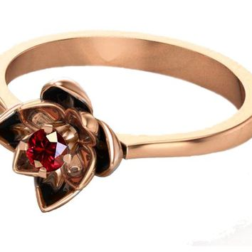 Rose Gold Ruby Flower Ring Lotus Ring Art Nouveau unique Engagement ring Flower ring Red Floral ring 18K Yellow gold Engagement gift