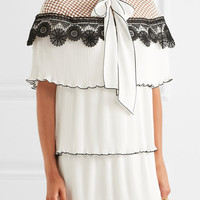 Self-Portrait - Pussy-bow pleated gazar and guipure lace mini dress