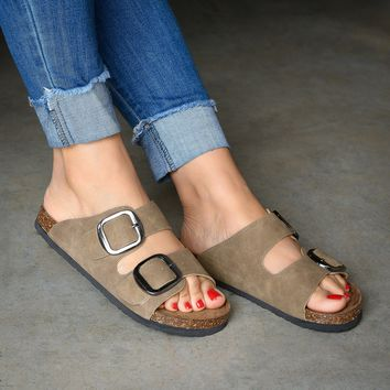 Big Double Buckle Taupe Sandals