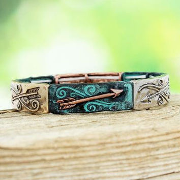 BURNISHED TRI-TONE AND PATINA WESTERN ARROW & BULLET BRACELET
