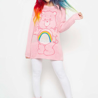 IRON FIST CARE BEARS CHEER BEAR PINK RAINBOW SLOUCH SWEATER