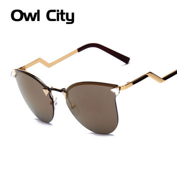 Owl City Summer CAT eye sunglasses 7 color women vintage fashion METAL frame glasses brand gafas OCULOS de sol feminino 15096