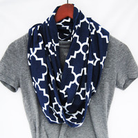 BLUE INFINITY SCARF, navy blue quatrefoil scarf, fall infinity scarf, t-shirt scarf, Circle scarf, loop scarf, autumn fashion, fall style