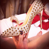 7/10 cm European Runway 2016 Red Bottom OL Women's Pumps Studded Rivets Pointed Toe High Thin Heels Shoes Party Sexy Pumps