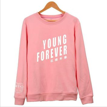 KPOP BTS Bangtan Boys Army moletom    Boys Jung kook Jimin Jin J-hope RAP MONSTER Pink women hoodies sweatshirts Young Forever Album Clothes AT_89_10