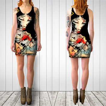Bodycon dress - Party Dress - Womens Dress - Cocktail dress - Art dress - Tattoo Dress - Tattoo clothing - Teen Dress - Ecofriendly
