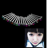 [Crazy 20pcs Rhinestone Nose Ring Bone Stud Body Piercing Jewelry 821