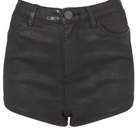 MOTO Black Coated Denim Shorts - Shorts - Clothing - Topshop