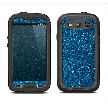 The Blue Sparkly Glitter Ultra Metallic Samsung Galaxy S3 LifeProof Fre Case Skin Set