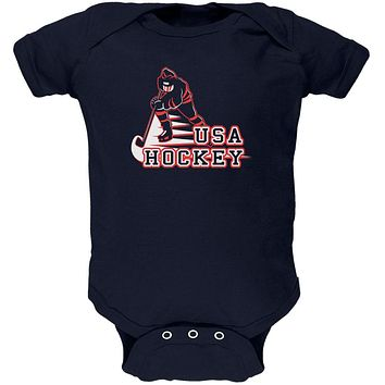 Fast Hockey Player Country USA Soft Baby One Piece