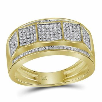 10kt Yellow Gold Men's Round Pave-set Diamond Faceted Cluster Band Ring 1/3 Cttw - FREE Shipping (US/CAN)