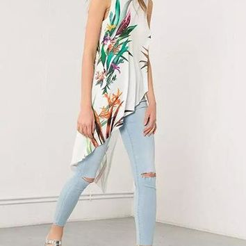 Women's Bias Cut Casual Dress - Asymmetrical Hemline / Tropical Colors on White
