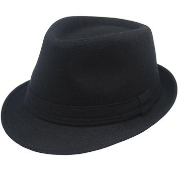 Fashion Wool Men's Women's Black Gray Fedora Hat for Male Lady Woolen Wide Brim Jazz Church Cap Vintage Panama Sun Top Hat S M L
