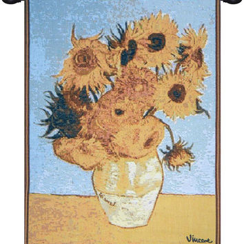 Van Gogh Sunflowers European Tapestry Wall Hanging