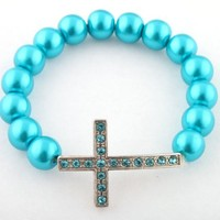 12 Pieces of Light Blue with Silver Iced Out Cross Metallic Shamballah Beaded Stretch Bracelet