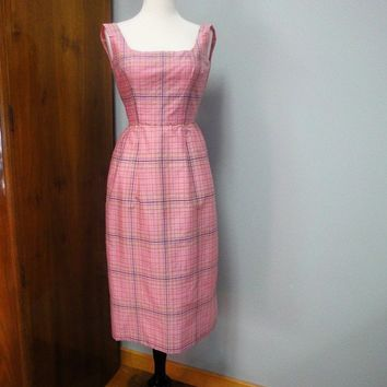 Vintage 1960s Wiggle Dress Cotton Candy Pink Silk Taffeta Plaid Petite