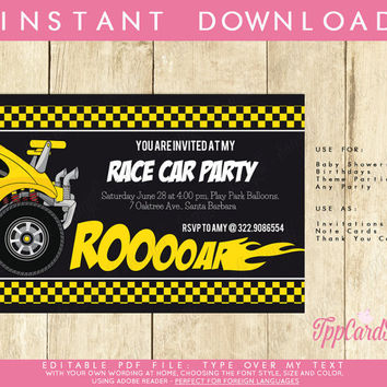 Race Car Download Invitation DIY party, custom personalized for boys, teenager, men birthday celebration Download, Edit, Print Adobe Reader