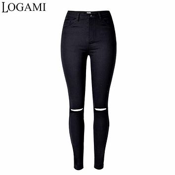 Skinny Jeans Woman High Waist Black Ripped Jeans Elastic Jean Trou Genou Taille Haute 2017 Pants American Apparel