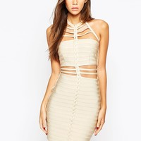 WOW Couture Cut Out Bandage Dress With Plait Front Detail