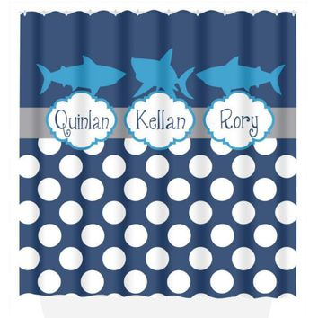 Shark SHOWER CURTAIN Brothers Boy Custom MONOGRAM Personalized Bathroom Decor Pattern Bathroom Bath Towel,  Bath Mat Made in Usa