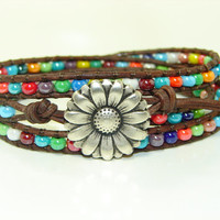 Multi-Colored Seed Beads Leather Wrap Bracelet, Triple Wrap, Sunflower, Boho, Rainbow Colored Wrap