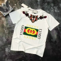 GUCCI Women Fashion Tiger Embroidery Short Sleeve Tunic Shirt Top Blouse