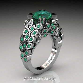 Art Masters Nature Inspired 14K White Gold 3.0 Ct Emerald Diamond Engagement Ring Wedding Ring R299-14KWGDEMM