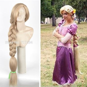 Top Quality 120CM Long Rapunzel Tangled Light Blonde Straight Cosplay Hair big braid for women party Wig + Wig Cap