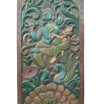 Radha Krishna Wall Door Antique Wooden Wall Panel hand carved painted sliders divider doors