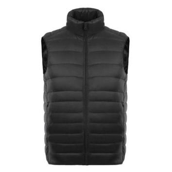 Man Thin Light Waistcoat Vest Down Coat Plus Size   black