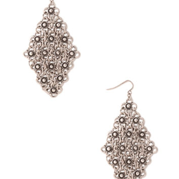 FOREVER 21 Antiqued Floral Drop Earrings Burn.S One