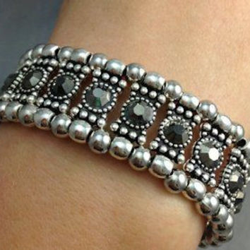 Hematite Crystal Stretch Bracelet