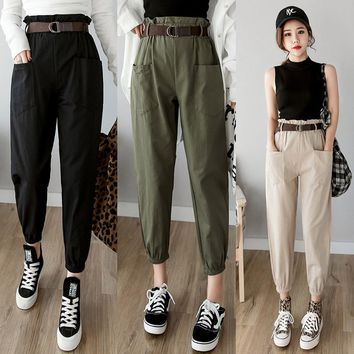 Women pants 2019 spring summer fashion female solid high waist loose harem pant pencil trousers casual cargo pants streetwear
