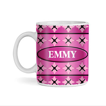 Happy Monkey on Pink Monogram 11oz Coffee Mug
