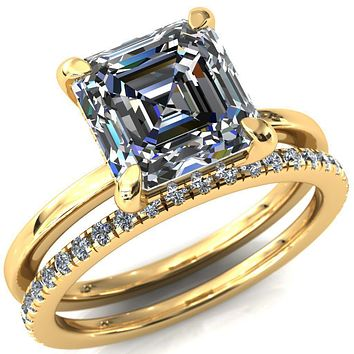 Carmeli Asscher Moissanite 4 Claw Prong Micro Pave Diamond Rail Engagement Ring