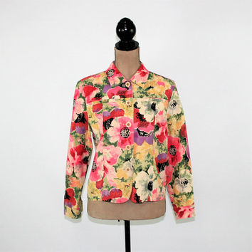 Floral Jacket Women Medium Petite Silk Linen Print Jacket Casual Light Jacket Lightweight Muted Abstract Coldwater Creek Womens Clothing