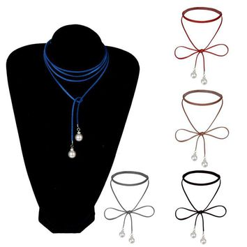 Hot Design Imitation Pearl Choker Necklace Fashion Charm Bohemia Black Leather Long Chain Statement Necklace Jewelry