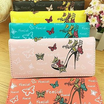 Women Smooth Butterfly Print Button Clutch Coin Purse Cards Holder Bag Wallet