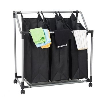 Heavy-Duty 3-Bag Rolling Laundry Sorter Storage Cart with Wheels  Dirty Clothes Rack