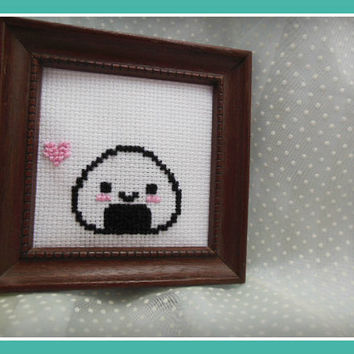 Framed Cross Stitch Onigiri / Rice Ball
