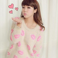 Sexy Lips Print Round Neck Mohair Sweater$78