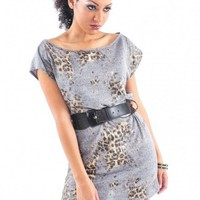 Leopard  Print Belted Tunic - Diva Hot Couture