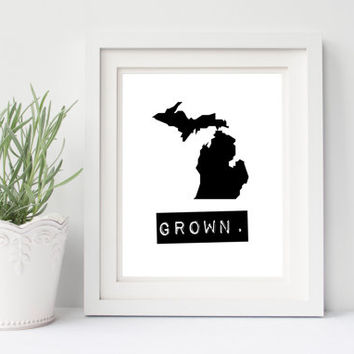 Michigan Grown Home State Print, Custom Map, Personalized, Hometown Heart, Typewriter style, Stamp, Hometown map, Typography, Black & White