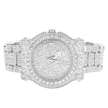 Men's Prayer Hands Silver Finish Iced Out Hip Hop Watch