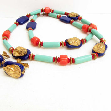 Miriam Haskell Necklace and Earring Set Brass Glass Vintage 1970's King Tut Signed Egyptian Egypt Vintage Jewelry Collection Blue Red Green