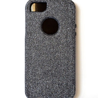 Custom iPhone 5 Glitter Otterbox Commuter Cute Case,  Custom  Glitter Hematite/Black Otterbox Color Cover for iPhone 5