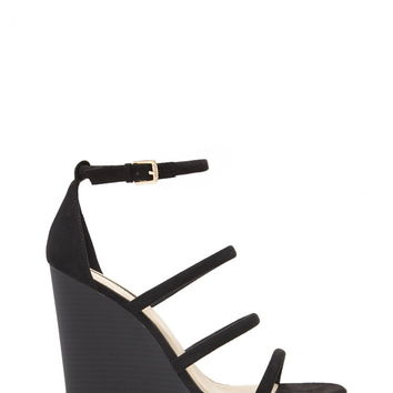 Strappy Faux Suede Wedges